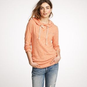 EUC - J Crew - Orange/White Striped Hoodie - M